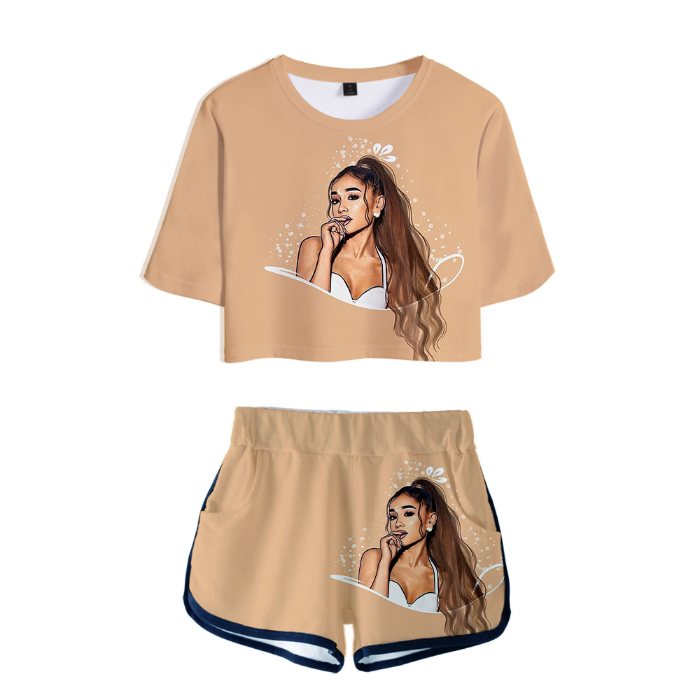 Two Piece Set Short Pants Ariana Grande   T     shirt   3D Women Sets lovely Dew navel Tops and Short Pants Can be sold in one piece