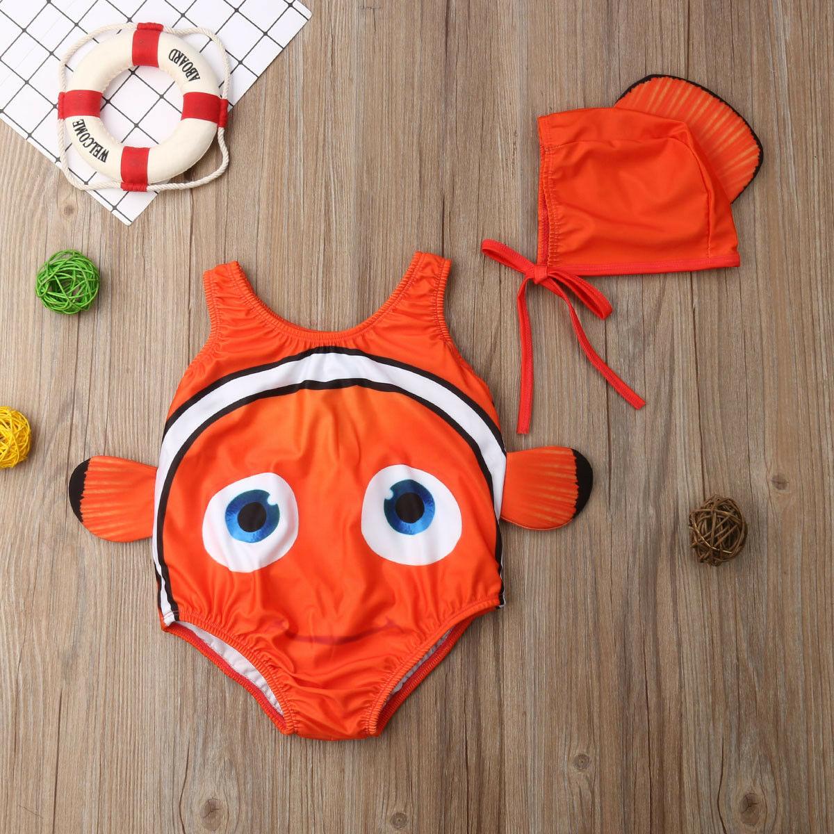 Hot 2Pcs Kids Baby Girl Swimsuit Goldfish Swimwear Swimmable Bikini Beach Print Cute Sweet Costume+Swimming Hat Bathing Suit