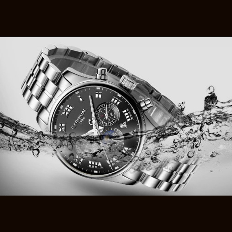 كرنفال الساعات الرجال سويسرا الفاخرة العلامة التجارية القمر المرحلة التلقائية الميكانيكية الرجال ووتش الصلب كاملة متعددة الوظائف للماء 2019-في الساعات الميكانيكية من ساعات اليد على  مجموعة 2