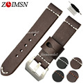 22mm 24mm Thick Leather Watchbands Mens Watch Bands Strap Belt Black Brown Silver Stainless Steel Clasp Stainless Steel Buckle