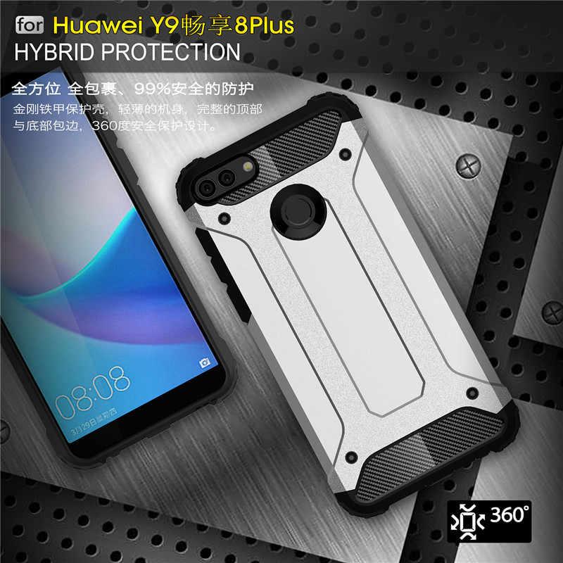 Per Huawei Y9 2018 Slim Case Armatura della Gomma di Silicone Duro Della Copertura Del Telefono Per Godere di 8 Più Antiurto Duro Hybird PC posteriore Coqe