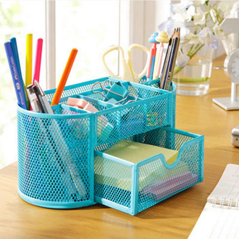 Metal Desk Organizer Combination Mesh Desktop Pencil Pen Badge Holder Storage Box Stationery Ruler Office School Supplies