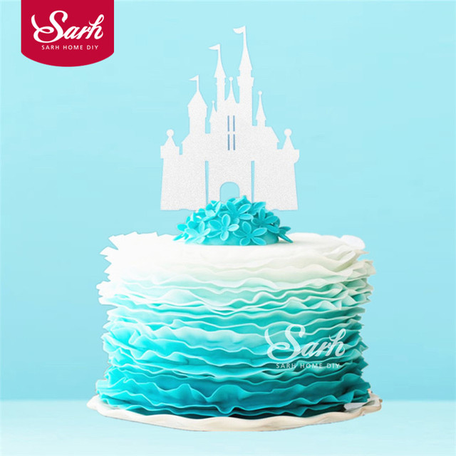 3PCS Bling Gold Sliver Romantic Princess Castle Cake Topper With Plasticstick Decoration Wedding Birthday Party