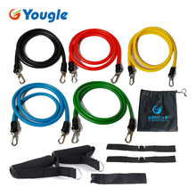 YOUGLE New 11 Pcs/Set Latex Resistance Bands Workout Exercise Pilates Yoga Crossfit Fitness Tubes Pull Rope(China)