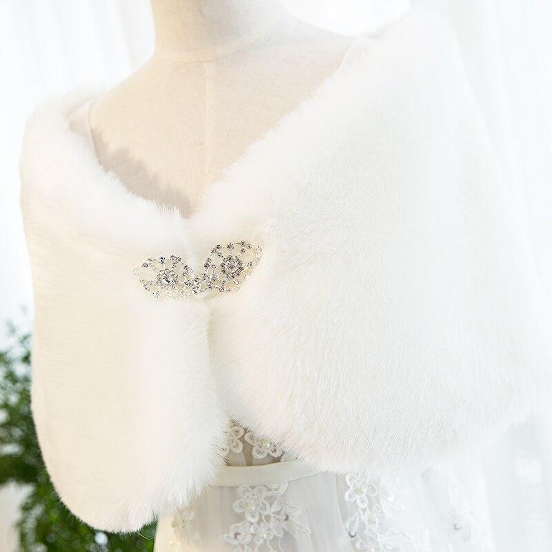 jaeden nouvelle arrive de marie wraps blanc faux toles de fourrure cristal broches manteau accessoires de - Tole Blanche Mariage