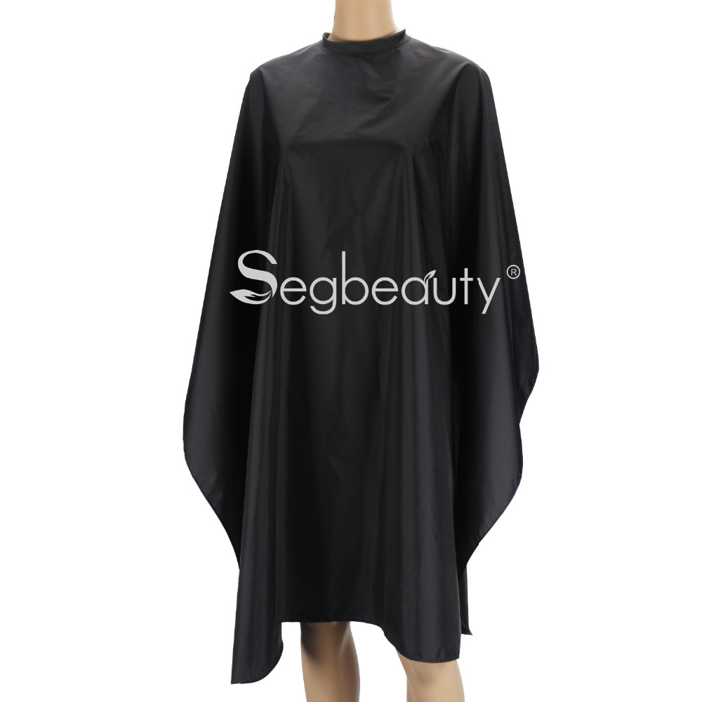 Lightweight Hair Cut Cape, Black Nylon Smock for Salon Hair Color Shampoo Makeup Hook and Loop Closure Static Free Water