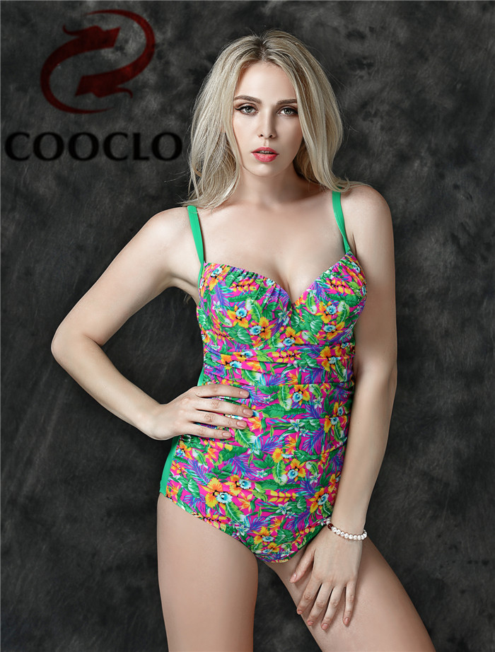 COOCLO Vintage Floral One Piece Swimsuit Plus Size Swimear Female Beach Backless Bathing Suit  Push Up Swimming Suit for Women