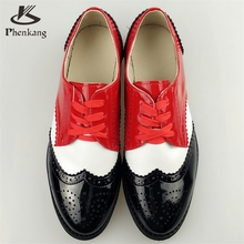 2016 Genuine leather big woman size 11 designer vintage flat shoes round toe handmade brown red white oxford shoes for women fur