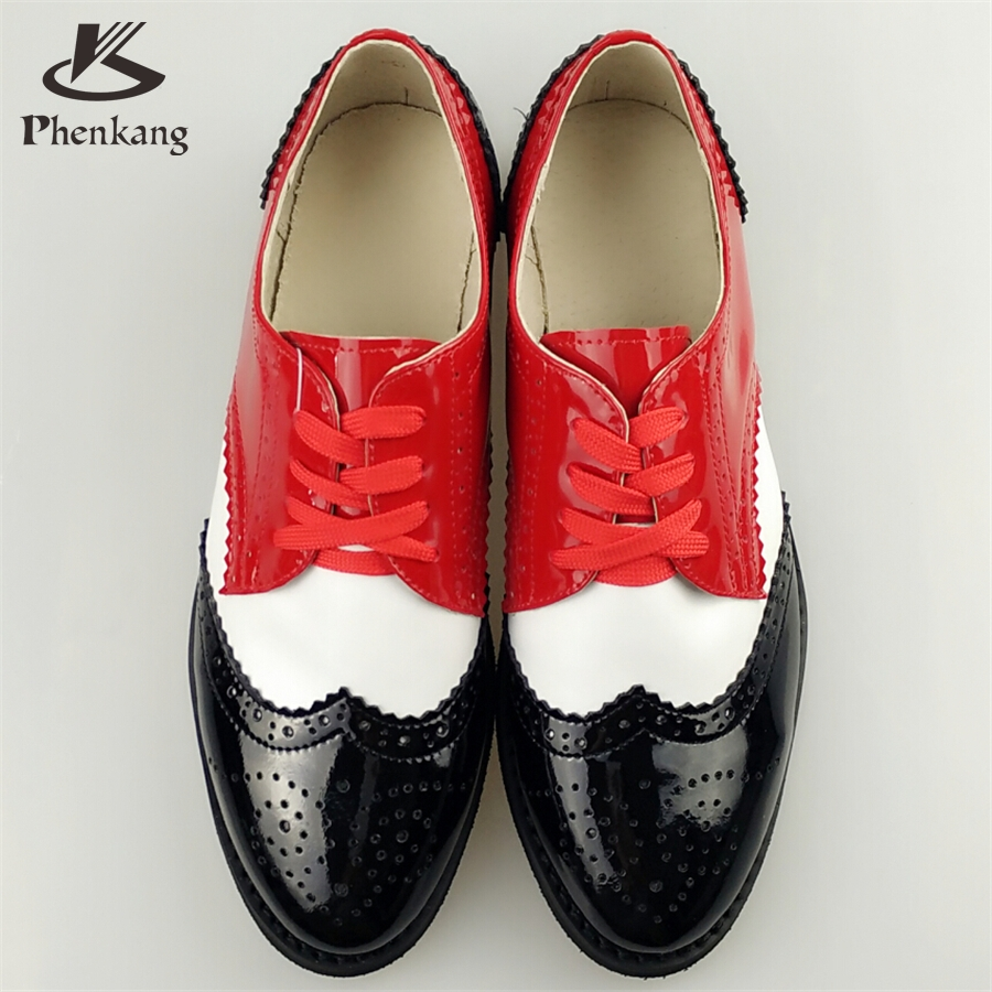 ФОТО Genuine leather big woman US size 11 designer vintage flat shoes round toe handmade brown red white oxford shoes for women fur