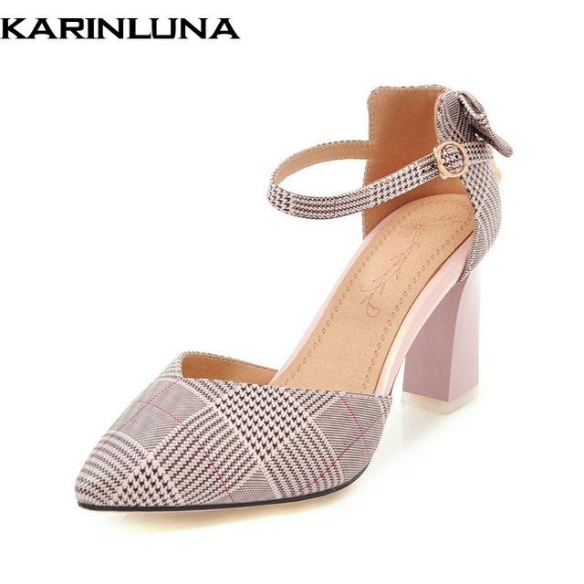 1a274f5cf7b KarinLuna 2018 Large Sizes 31-46 Elegant Bow Pointed Toe Sandals Shoes  Women Fashion Trendy Style High Heels Woman Shoes