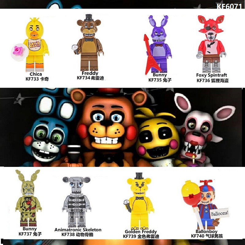 Single Sale Building Blocks Famous Movie Five Nights At Freddy Chica Bunny Foxy Spintraft Brick Children Toys Kids Gift KF6071