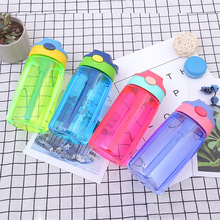 Sport  480ML Cartoon Eco-friendly Kid Water Bottle With Straw Healthy Milk Cup for Baby Inverted Leakproof Child