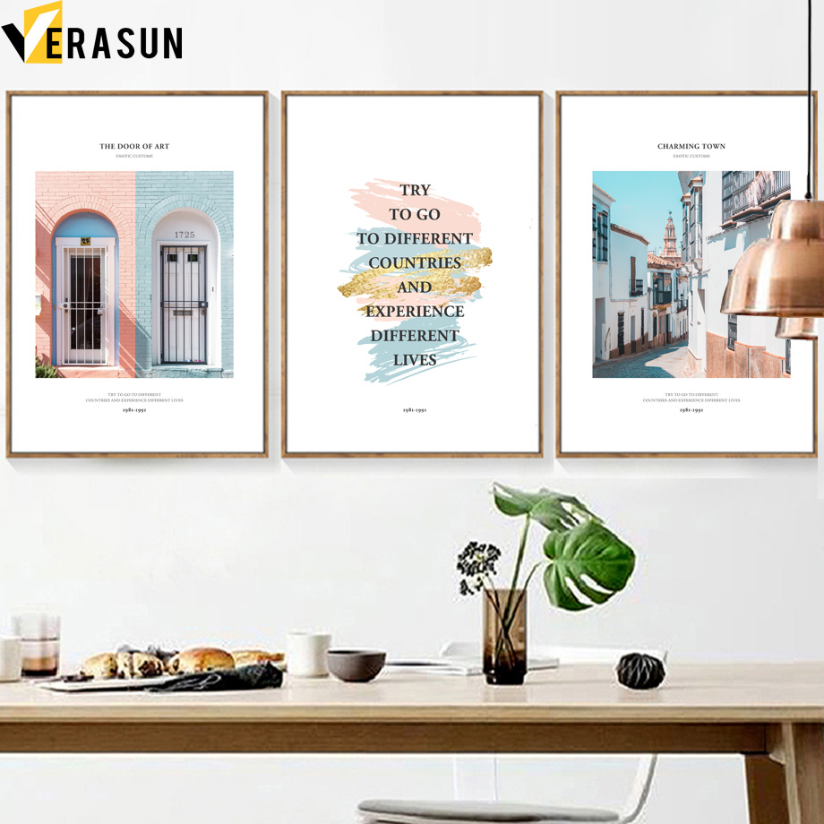 House Door Street Quotes Landscape Wall Art Canvas Painting Nordic Posters And Prints Wall Pictures For Living Room Home Decor(China)