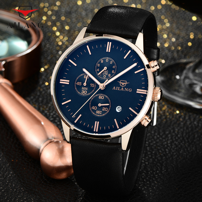 AILANG Men Business Watches Workable 3-eye Male Watch Multi-functional Calendar Mens Dress Wrist Watch Quartz Analog Reloj A106 mike 320 men s business casual analog quartz wrist watch w calendar silver