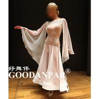 GOODANPAR new women Standard Ballroom Dance Competition Dresses with bodysuit bra cups Silk Lycra Tango Watlz Dress white