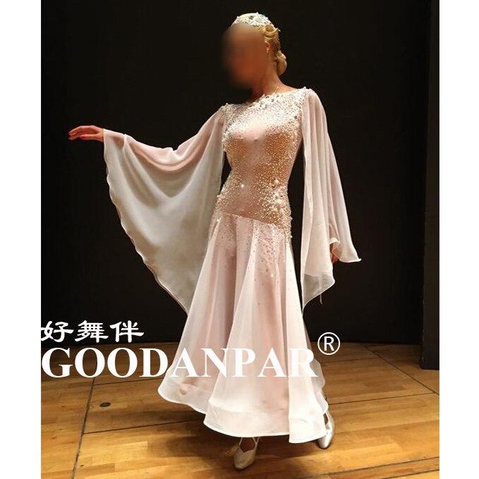 GOODANPAR novas mulheres Vestidos de Competição de Dança De Salão Padrão com copos do sutiã bodysuit Lycra Seda Watlz Tango Vestido branco