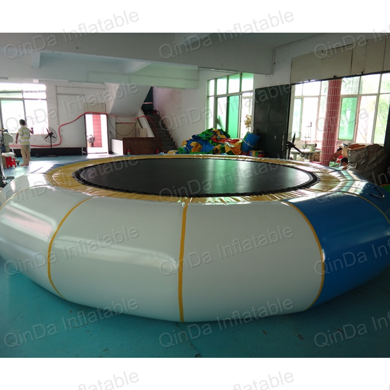 floating jumping trampoline, Summer inflatable water trampoline slide for beach/lake Trampolin inflatable water jumping bed vilead new american stripe water hammock pvc sleep tents pool row pattern lounge inflatable air floating bed for beach swimming