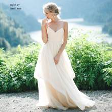 Sexy Beach Cheap Wedding Dresses Spaghetti Strap Pleats Top Tulle Backless Princess Long Wedding Gown Boho Bride Dress 2019(China)