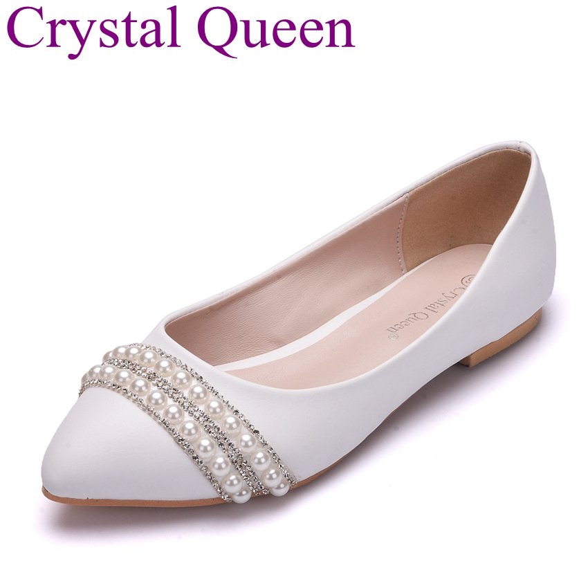 Crystal Queen Newest Fashion Flats Shoes Pearls Diamond Flats Woman Shoes Ballet Flats White Wedding Shoes Plus Size 43