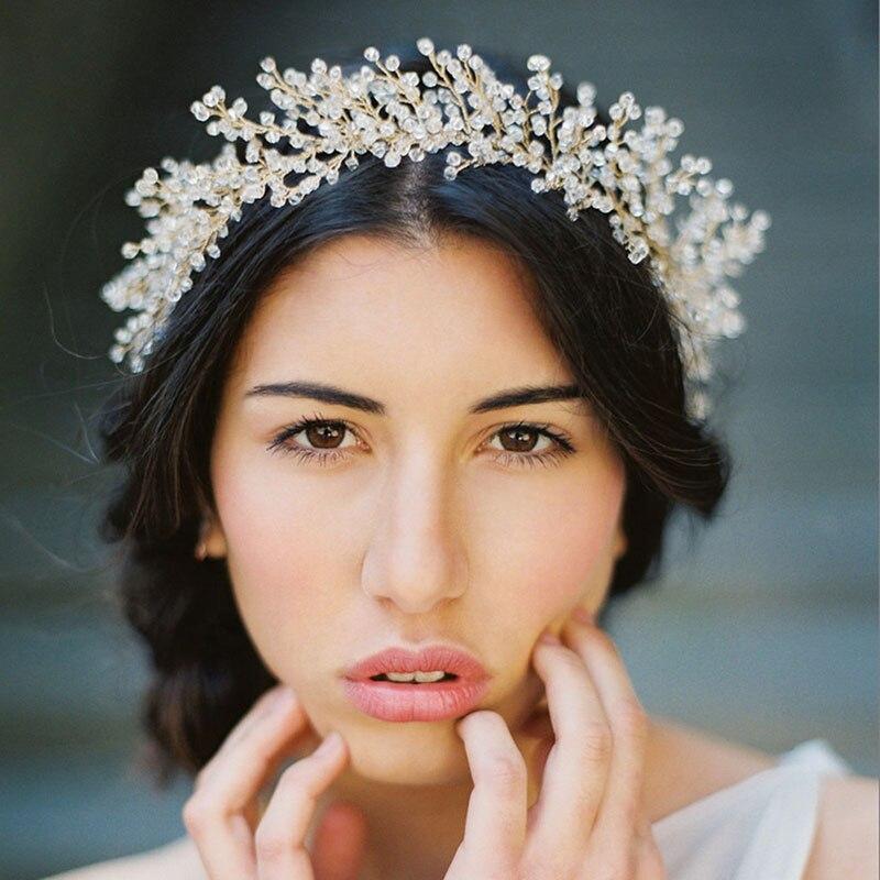 European Handmade Full Crystal Beads Headbands Women Rhinestone Crowns Girls Hair Hoop Headpiece Hairband Hair Jewelry ML101