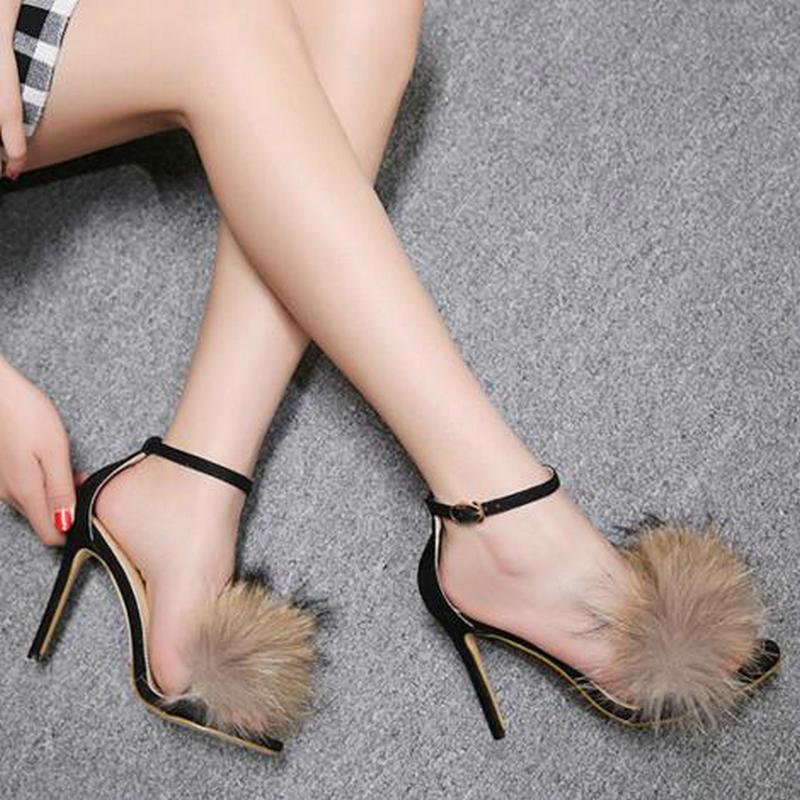 Sandales Chaussures Noir Mode Dames Femmes Mince 2018 Sexy Talons De Hauts D'été À Fourrure Dijigirls Sandlias Gladiateur afPw8Bqq