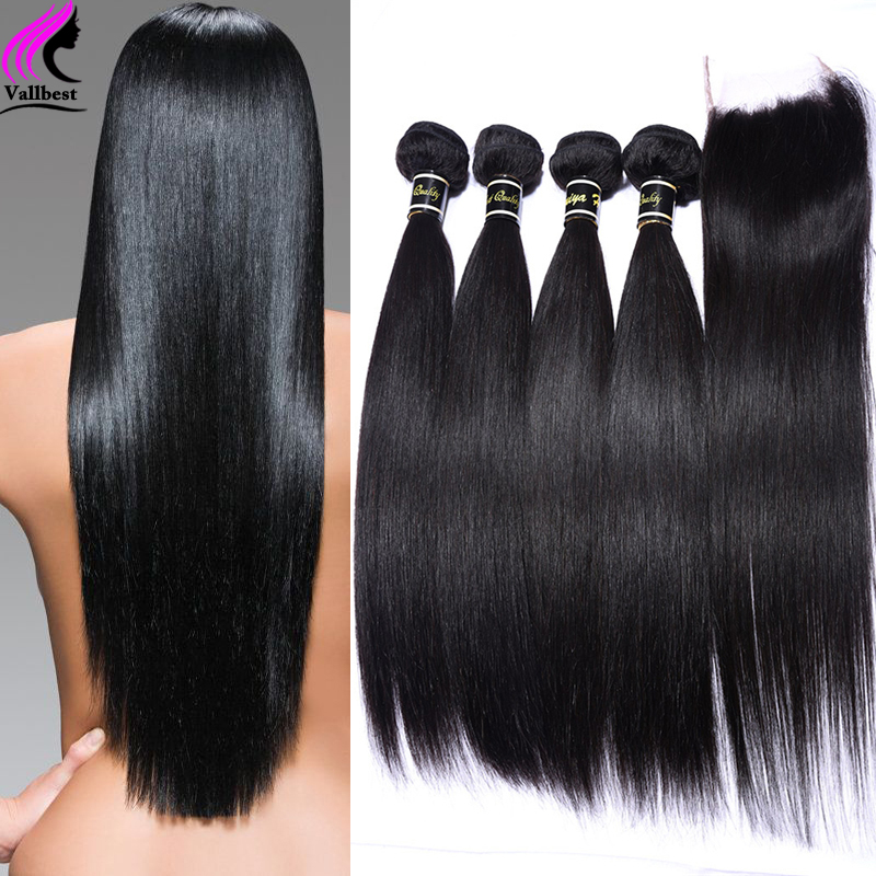 Peruvian Virgin Hair With Closure Peruvian Straight Virgin Hair With Lace Closure 4 Bundles With Closure Human Hair With Closure