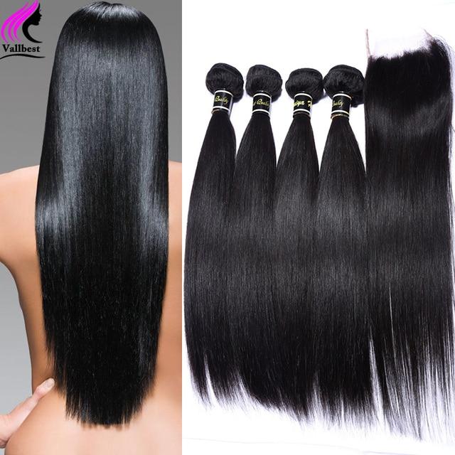 Peruvian Virgin Hair With Closure Peruvian Straight Virgin Hair With Lace Closure 4 Bundles With Closure Human Hair With Closure
