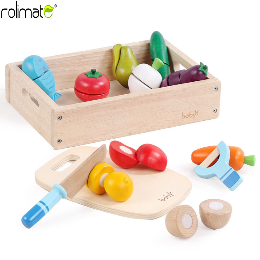 roliamte Wooden Kitchen Toys Cutting Fruit Vegetable Play miniature Food Kids Wooden baby early education food toys