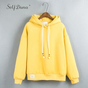 83fa8b289b4 Self Duna 2018 Autumn Women Hoodies Sweatshirts Winter Warm Fleece Female  Hooded Sweatshirt Cropped White Pink Yellow Hoodie