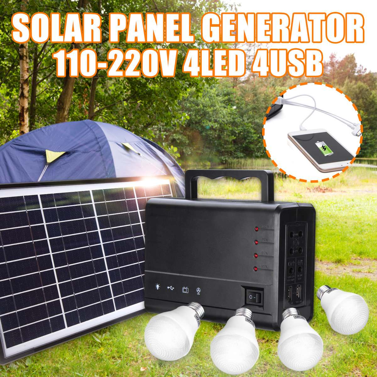 110-220V 4USB Solar Panel Generator Solar Generator System With LED Lamp Solar Panels for Home Outdoor Camping Lighting110-220V 4USB Solar Panel Generator Solar Generator System With LED Lamp Solar Panels for Home Outdoor Camping Lighting