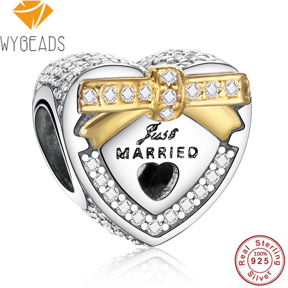 WYBEADS 925 Sterling Silver Wedding Heart Charms Love Clear CZ European Bead Fit Bracelet DIY Accessories Jewelry Valentine Day