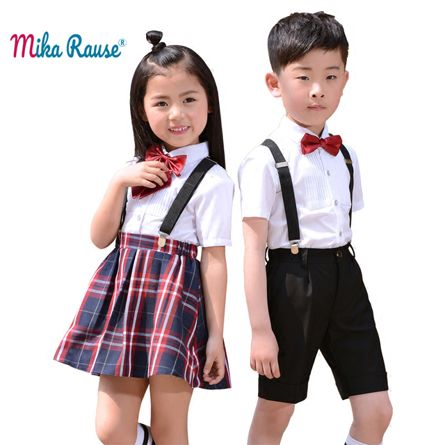 US $42 5  Fashion Children boys clothing sets kids tops clothes suits  shorts set shirt girls Scottish skirt student party ceremony costume-in  Clothing