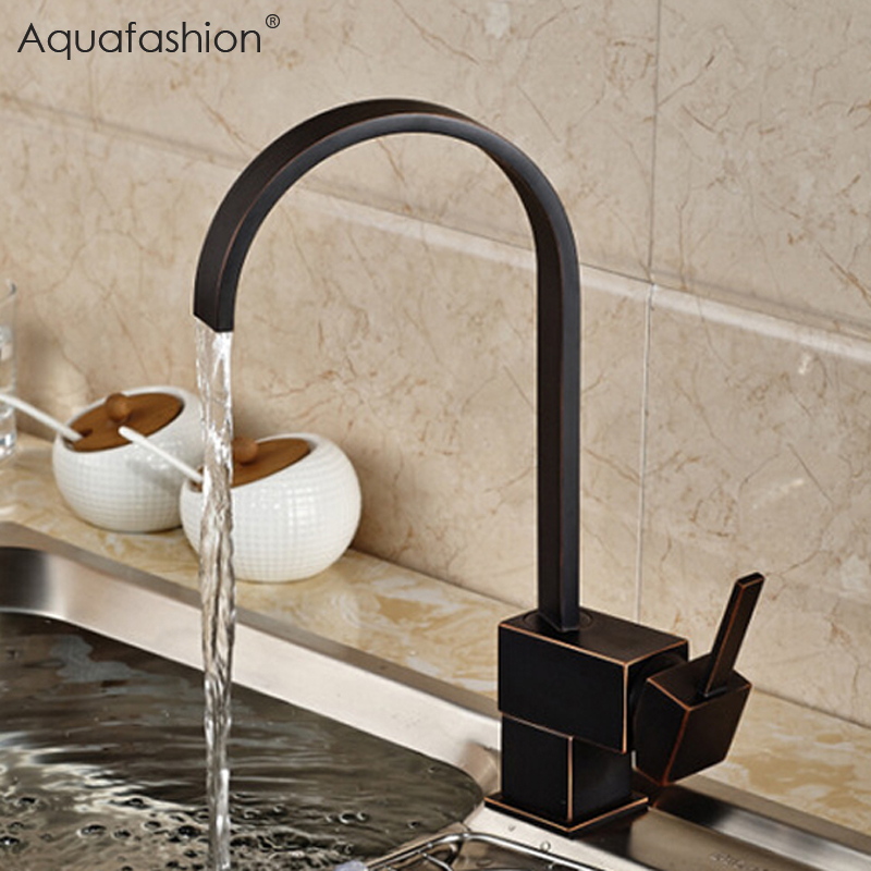 Antique Black Kitchen Faucets 360 Swivel Bathroom Sink Basin Mixer Tap Brass Kitchen Mixer Deck Mounted Torneira Para Cozinha