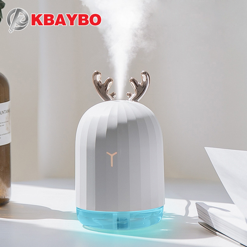 KBAYBO 220ml Mini USB Ultrasonic Humidifier With 7 Color Changing LED Night Light Lamp Mist Maker Air Diffuser For Home Office