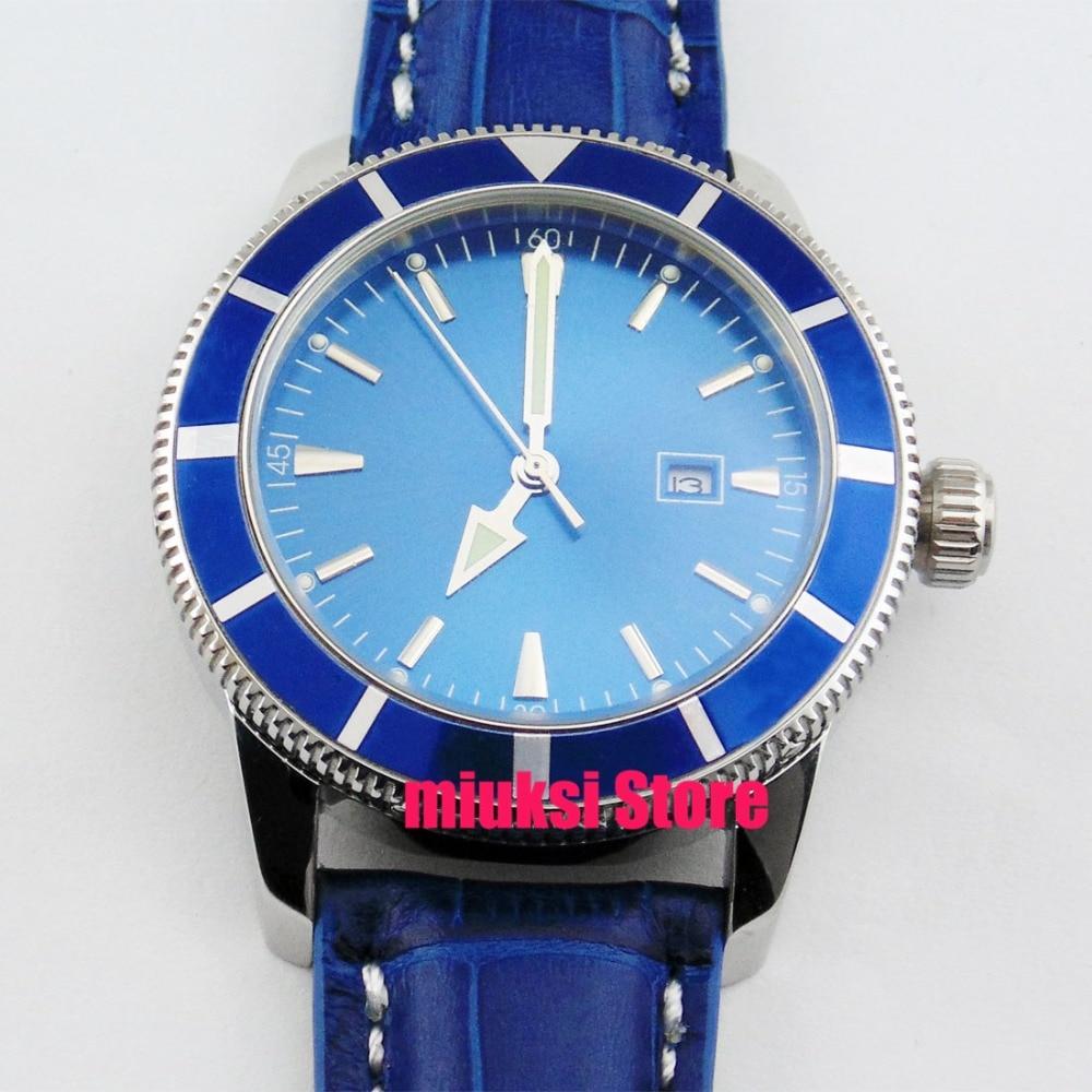 46mm Mechanical automatic un directional bezel Leather blue dial mens Watch