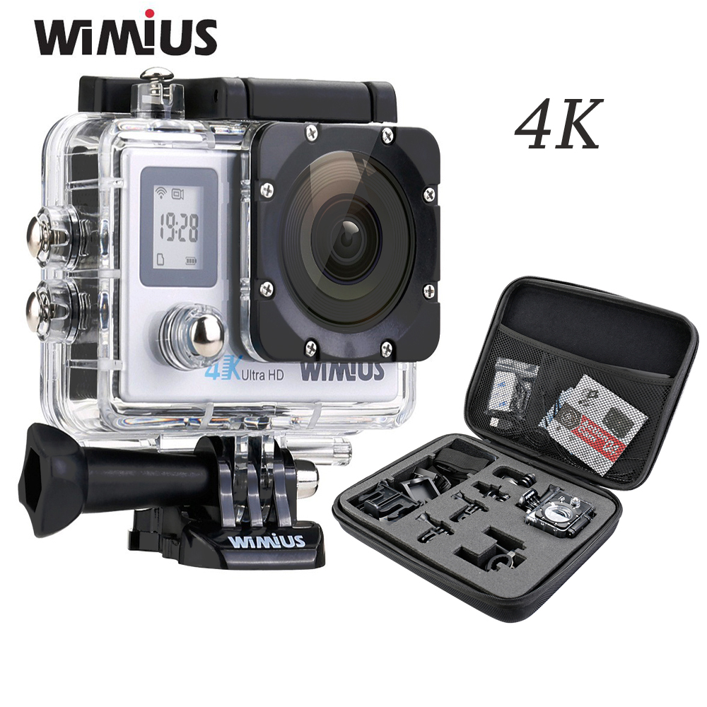 Wimius Double Screen Wifi Action Camera 4K Ultra HD Video Sports Mini Helmet Cam Car DVR Go Waterproof 40M+ Portable DV Pro Bag