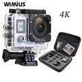 Wimius tela dupla câmera de ação wi-fi 4 k ultra hd de vídeo de esportes Mini Helmet Cam Carro DVR Ir À Prova D' Água 40 M + DV Portátil Pro saco