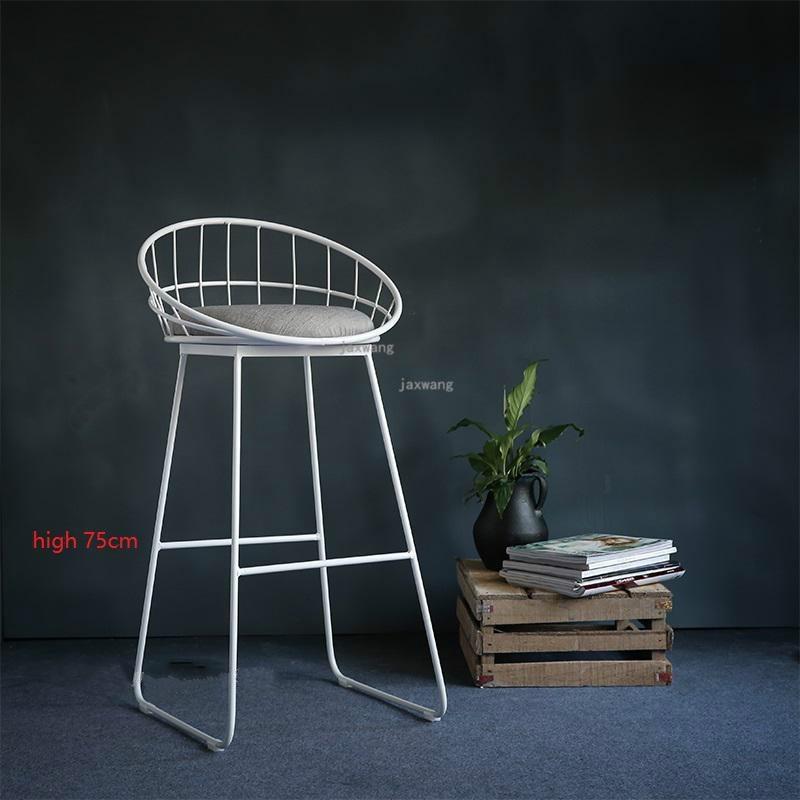 Современный простой барный стул из кованого железа, барный стул, золотой высокий стул, современный обеденный стул, железный стул для отдыха, скандинавский барный стул, трется - Цвет: Height 75CM