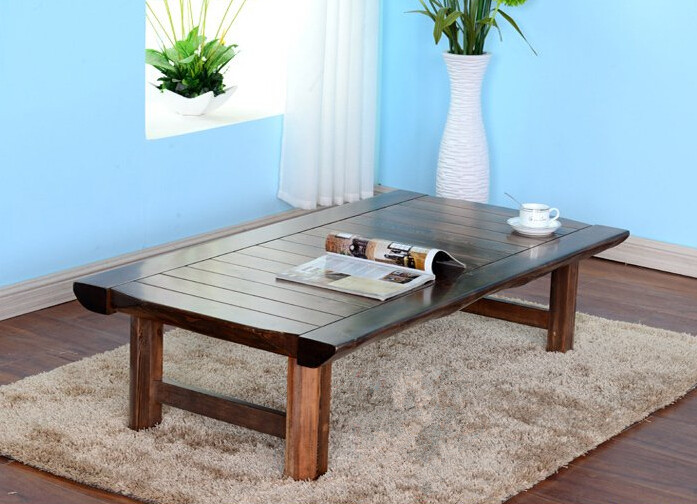 Japanese Floor Folding Table Rectangle130cm Asian Antique Furniture Traditional Living Room Solid Wood Low For