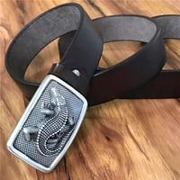 TOP 3D Crocodile Belt Buckle Super Thick Genuine Leather Luxury Cowboy Jeans Belt Wide Ceinture Homme