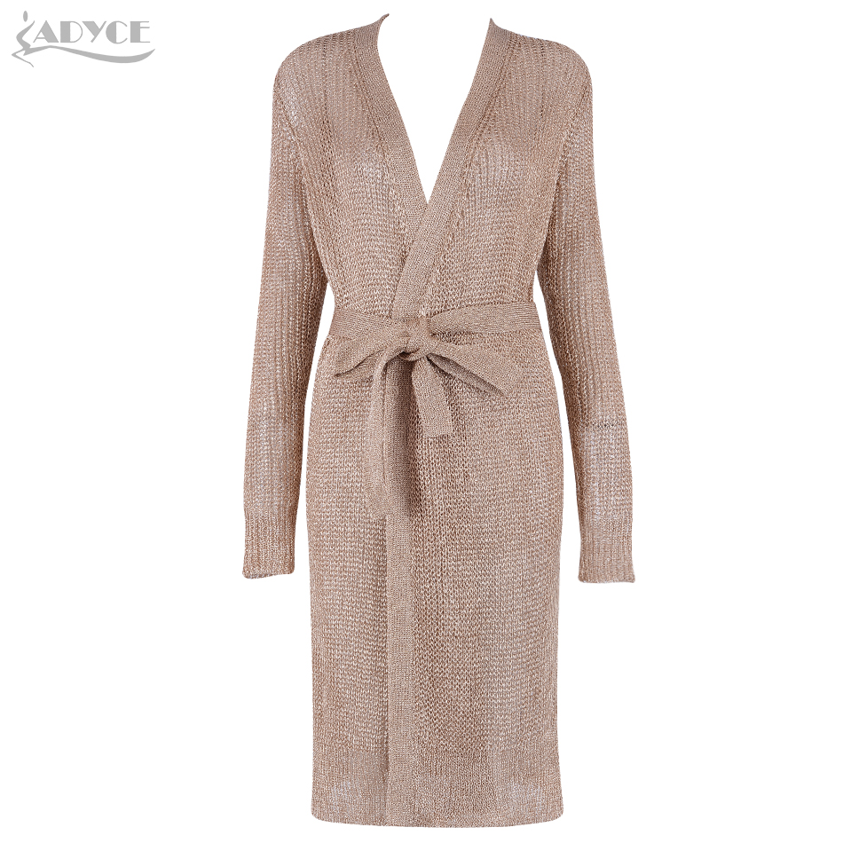 Adyce 2018 Summer Women Coats   Trench   Sexy V Neck Hollow Out Long Sleeve Women Coats Belt Celebrity Party Runway Dresses Vestidos