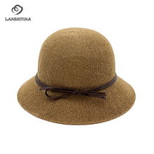 Spring Summer Loops Yarn Women Bucket Hats with Bow-tie Fashion Ladies Girls Beach Travel Sunhat Breathable Fisherman Hat Cap