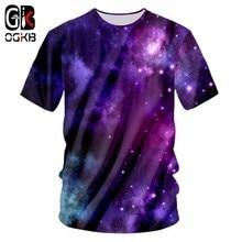 OGKB Mens Summer Purple Galaxy Space Print Tshirt Stars T Shirts Man O Neck T-shirt 3D Casual Breathable Plus-size Unisex