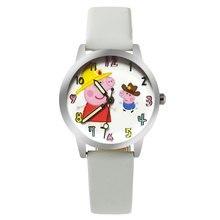 ot01 New Cartoon Children Watch Pig Watches Fashion Girl Kids Student Cute Leather Sports Analog Wrist Watches