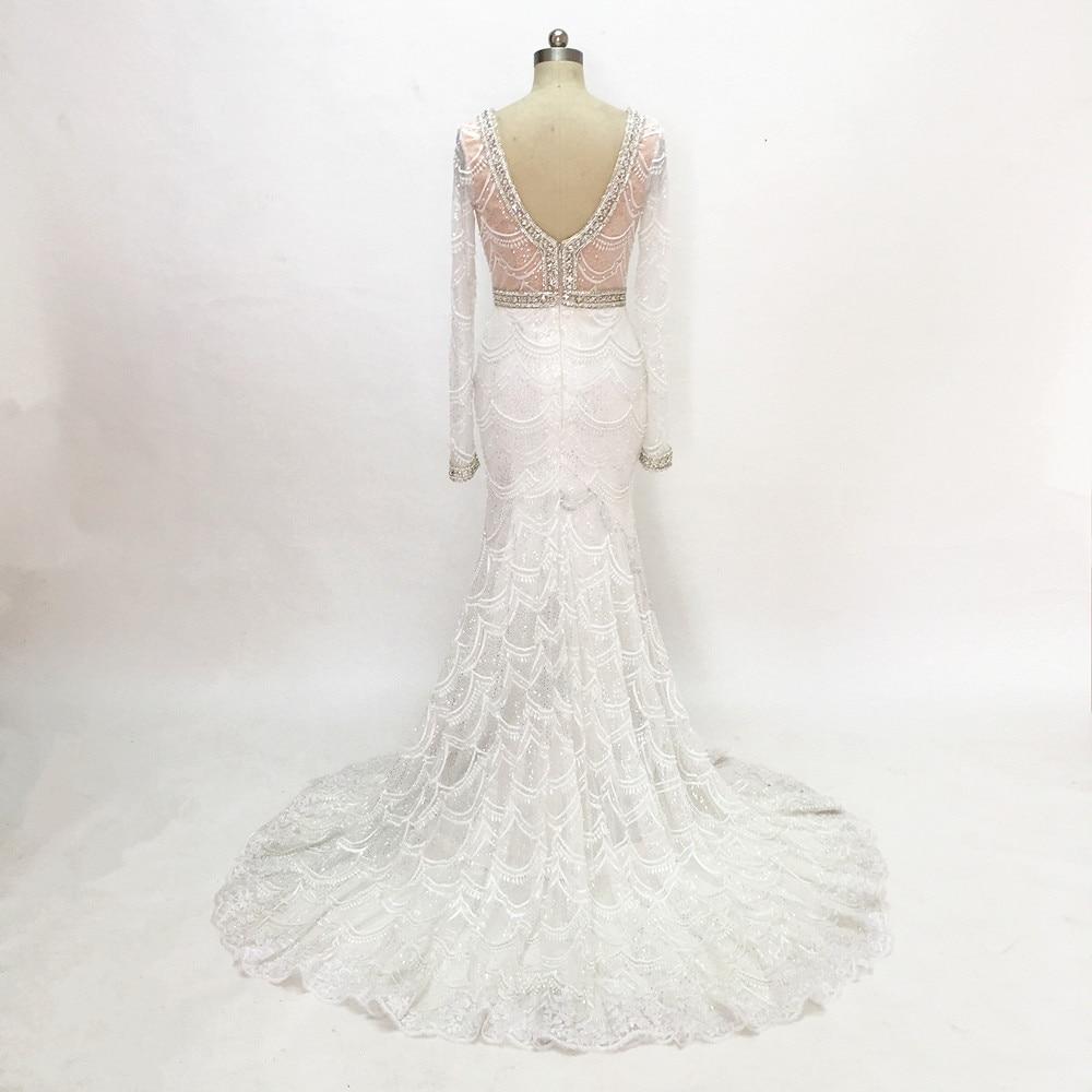 Champagne sjöjungfru snörning brudklänning 2017 Backless Vestidos - Bröllopsklänningar - Foto 3