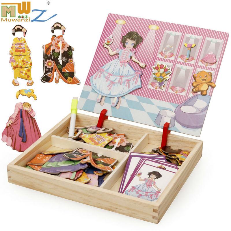 Nemokamas pristatymas vaikų ugdymo magnetinis dėlionės žaislai, magnetinė suknelė keičiasi / padažu Dėlionės vaikų galvosūkio dovanos
