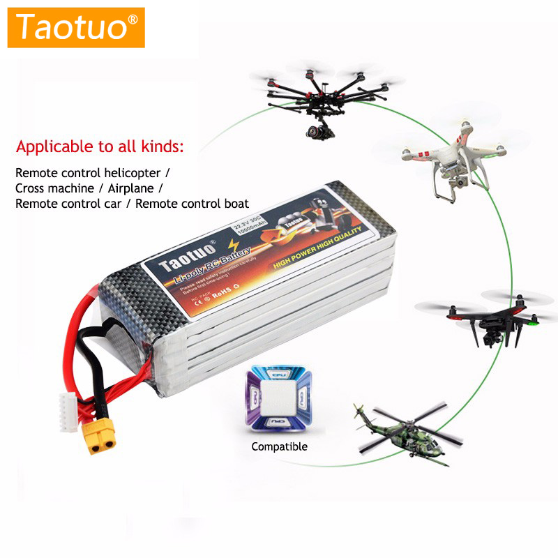 Taotuo Lithium Lipo Battery 22.2V 10000mAh 6S 30C XT60 T For Dji Phantom S900 S1000 RC Helicopter Quadcopter Drone Bateria lithium li polymer lipo battery 22 2v 2200mah 6s t plug 40c for dji s800 multicopter align trex 500 rc helicopter bateria lipo