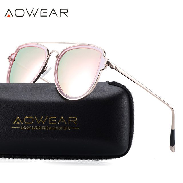 208f0349d2e AOWEAR Women Polaroid Round Sunglasses Female Polarized Goggles Eyeglass  Fashion Lady Outdoor Driving Shades lentes de sol mujer