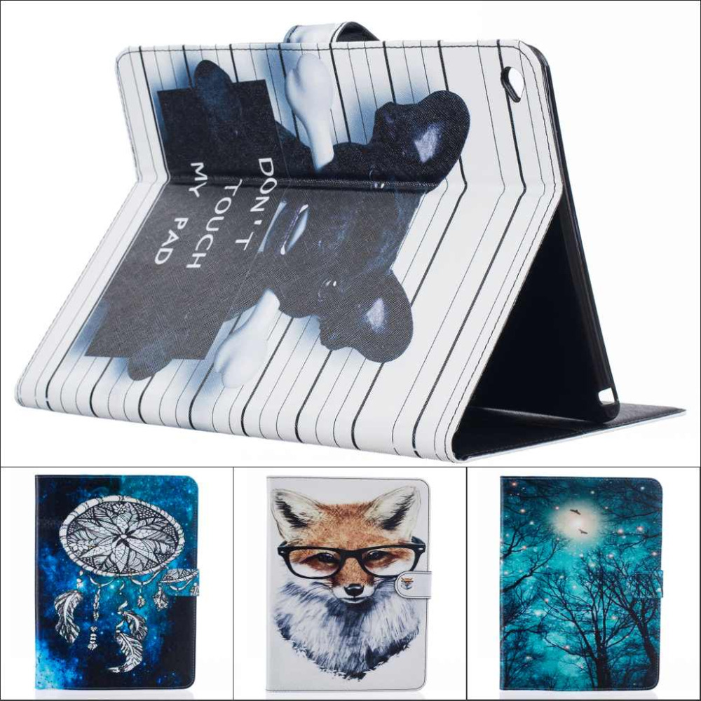 Fashion cartoon Tree Owl Dog Cat wallet card Pu leather stand holder cover case For Ipad air 2 for ipad air2 with stylus pen