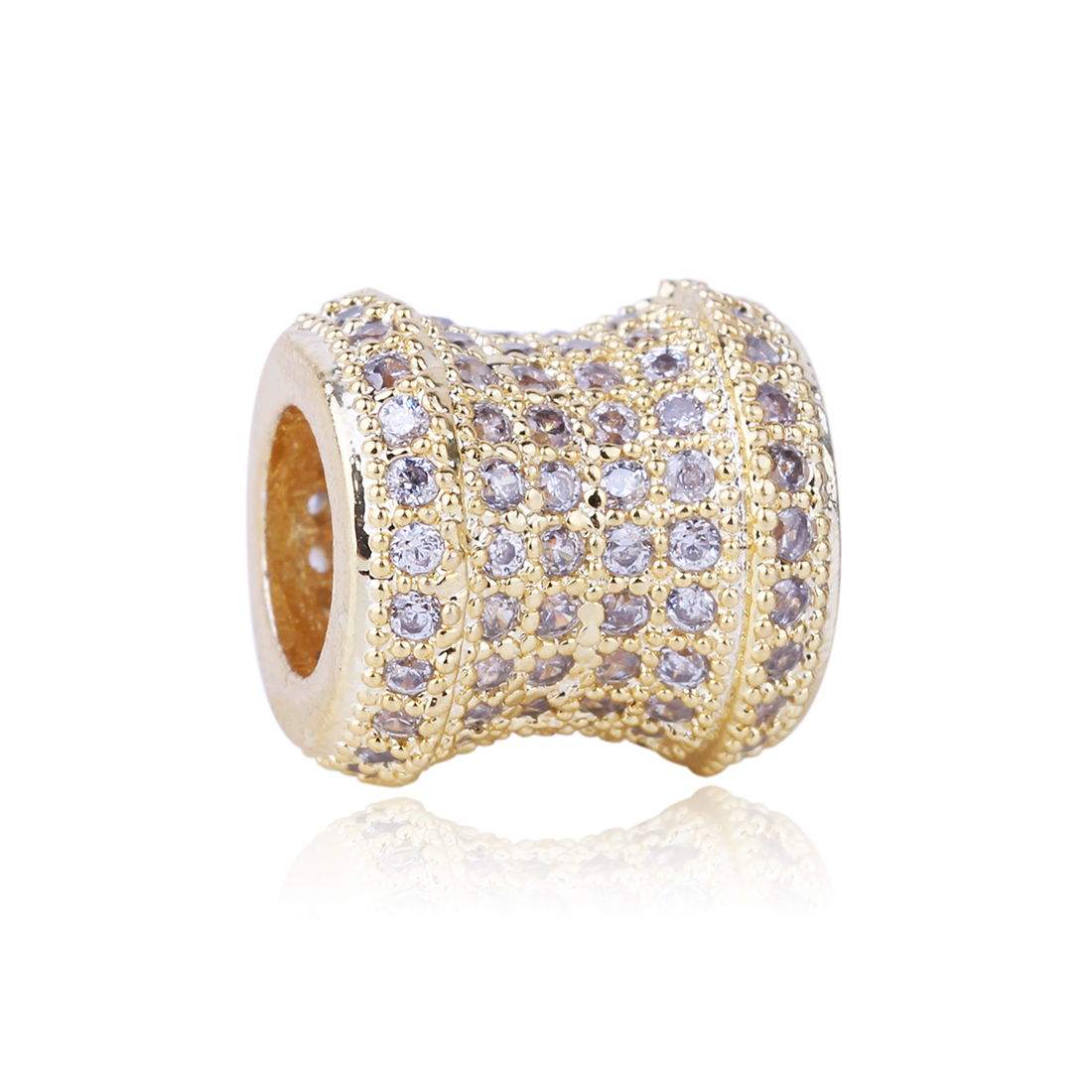 High Quality 2 Colors Wheel Charm Silver Plated Bead with Cubic Zircon Beads DIY Jewelry Fit Pandora Charms Bracelet